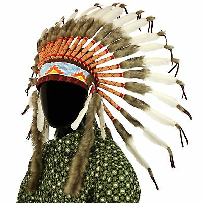 Headdress Hat Chief Fancy Dress Native American Indian Feathers Cap Brown White