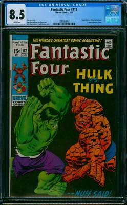 Fantastic Four # 112  The Incredible Hulk vs the Thing !   CGC 8.5 scarce book !