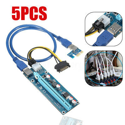 5pcs PCI-E Express 1x to 16x Extender Riser Card Adapter 6Pin USB3.0 Power Cable