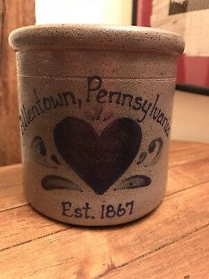 ROCKDALE Union Stoneware 1994 Hand Made Salt Glazed Pot - Allentown
