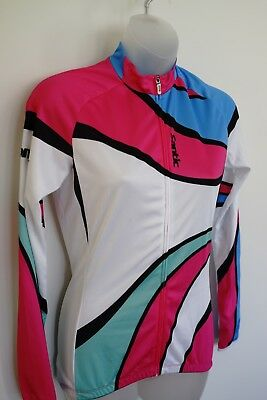 santic bold patterned l/s cycling jersey…womens small…vgc...