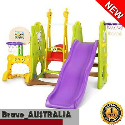 Kids Slide  Swing Set Basketball Ring Activity Outdoor Indoor Play Toys 7 in 1