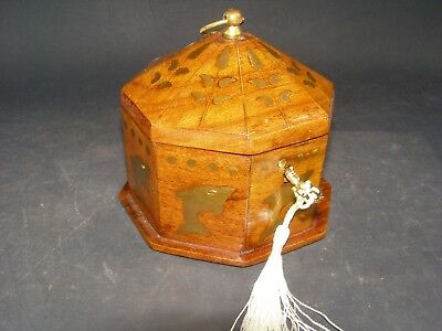 Antique Octagon Box Working Lock & Key Inlaid Brass Dolphins Butterflies etc