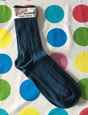 new oldstock mens Vintage 1970s socks In Petrol Blue By Triumph