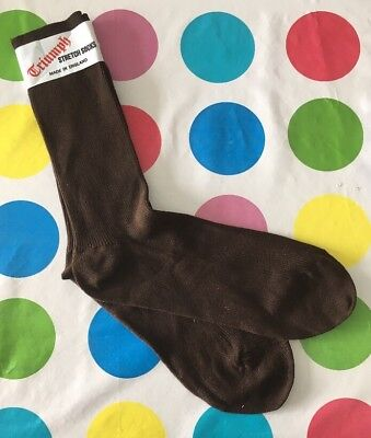 new oldstock mens Vintage 1970s socks In Chocolate Brown By Triumph