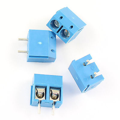 5 Pcs Blue 5mm Pitch 2 pin 2 way PCB Screw Terminal Block Connector UK