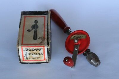 Vintage FLOTT Mibro German Hand Drill Tool Wood Handle with original box