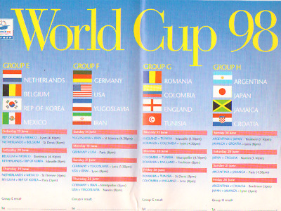World Cup 1998 - Fixture Poster By Safeway Magazine