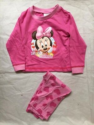 Disney Minnie Mouse Childrens Girls Pink Pyjamas Set - 9-12 Months