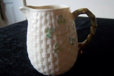 BELLEEK SHAMROCK PATTERN JUG 11cm HIGH