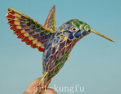 Cloisonne Copper Collection Handmade Carved Hummingbird Statue