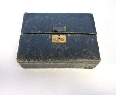 Antique Vintage Miniature Wood Leather and Velvet Jewellery box Travel Fold out