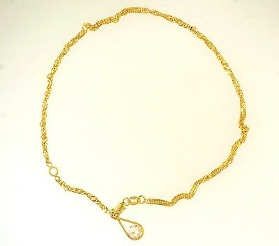 """9Carat Yellow Gold 11"""" Twisted Curb Anklet w/ Simulated Diamond Charm (2mm Wide)"""
