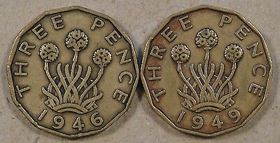 Great Britain 1946 + 1949 Brass Three Pence Mid Grade as Pictured