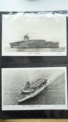 """Royal Navy Aircraft Carrier  H.M.S. """"Courageous"""" at sea - Vintage RP Postcard."""