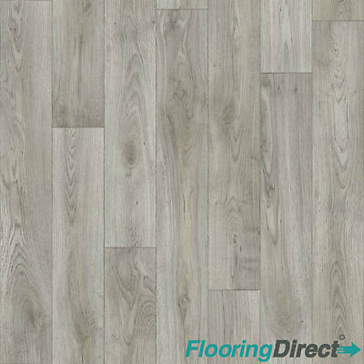 Quality Vinyl Flooring 4mm Thick Kitchen Bathroom Luxury Lino Non Slip Grey Oak