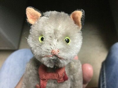 Very Rare Antique Miniature Mohair Schuco Tricky Yes No GRAY CAT
