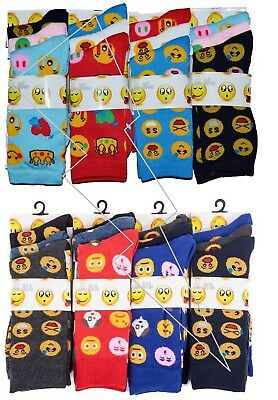 12/6 Pairs Mens/Ladies Emoji Emotions Smiley Faces Character Socks Womens Adults