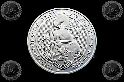 GREAT BRITAIN 5 POUNDS 2018 (Queen's Beast UNICORN of SCOTLAND) 2oz SILVER Coin