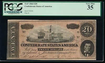 AC T-67 $20 1864 Confederate Currency CSA PCGS 35