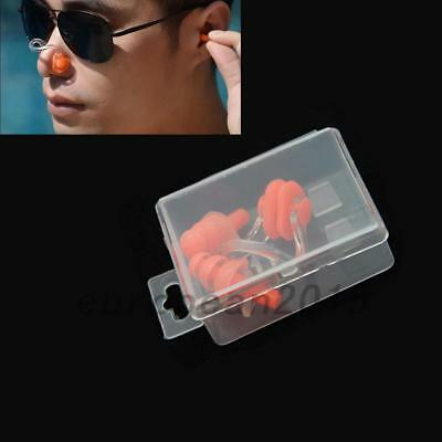 New Soft Silicone Swimming Set Nose Clip + Ear Plug Earplugs With Box  Swim Pool