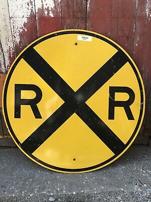 "RAILROAD Crossing Warning road sign yellow circle round 30"" bar garage decor"