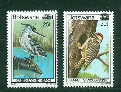 Botswana 1981, Birds, Surcharge 2v Set Ovpt. New value, SC# 289-290, MNH