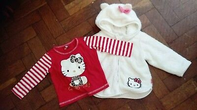 Lovely baby girls hello kitty top and jacket age 12-18 months
