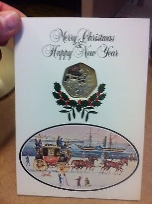 1980 Isle Of Man Christmas Fifty Pence 50P Coin In Card