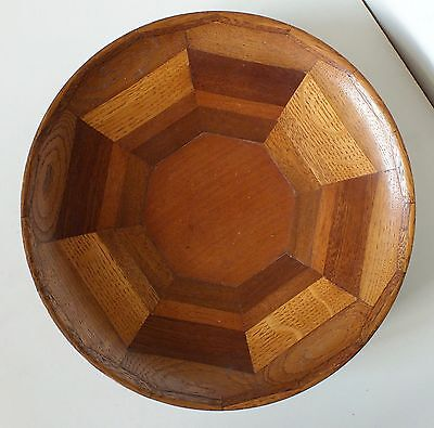 LARGE Craftsman Hand Made Art Deco Style Oak and Mahogany Wooden  Bowl...Signed