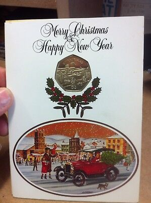 1983 Isle Of Man Christmas Fifty Pence 50P Coin In Card