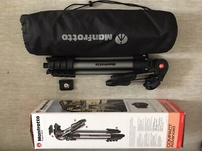 Manfrotto Compact Advanced Camera Tripod, 3-Way Head, Carry Bag & Boxed.
