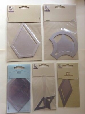 Five Different Metal Patchwork Templates Mitre, Shell And Diamond Quilting