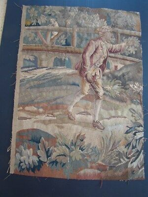 Tapestry French antique Aubusson fragment verdure and trees
