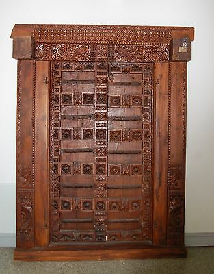 Antique India Hand Carved Wood Door - Amazing Intricate Detail & Craftsmanship