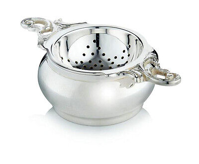 Silver Plated Double Handed Tea Strainer and Bowl