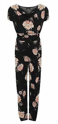 Womens Tied Belted Floral Print Playsuit Ladies Short Sleeve Cowl Neck Jumpsuit