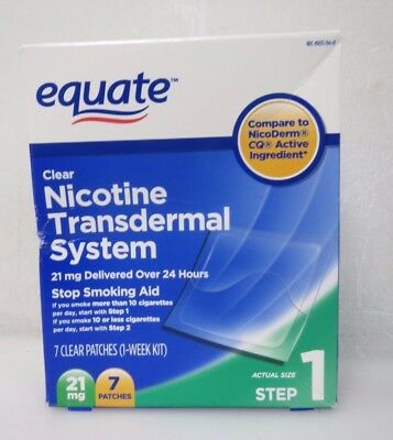Equate Nicotine Transdermal System Step 1 21mg Clear Patch 14 Patches