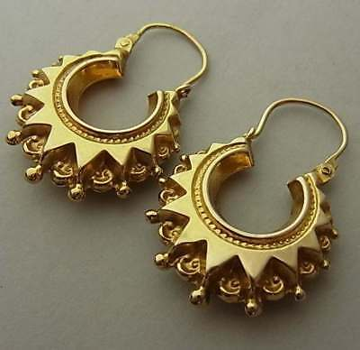 Vintage (1993) Victorian Style 9Ct Gold Creole Earrings