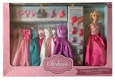 Fashion Boutique Doll Playset 9 Sparkling Dresses & Accessories Toy Set