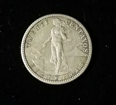 Philippines USA 20 Centavos 1912 S Silver  Good Detail Uncleaned