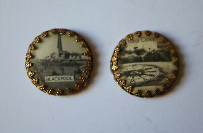 2 Vintage Blackpool Photos in Gilt Edged Frame Perfect as Dollshouse Pictures