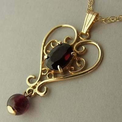 Edwardian Style 9Ct Gold & Garnet Pendant On 9Ct Gold Chain