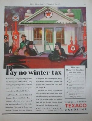 1929 Fancy Dressed Couples Convertible in Snow Pay no Winter Tax Texaco Gas Ad