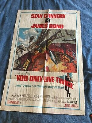 "Original 1967 James Bond ""you Only Live Twice"" Movie Theater Poster"