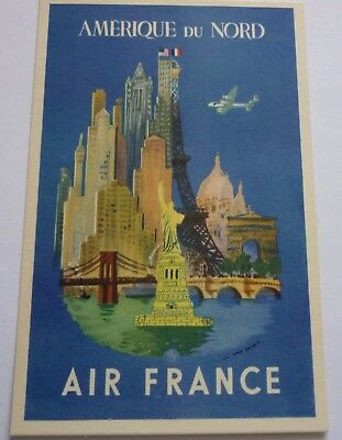 Carte Postale Aviation Air France Affiche Amérique Du Nord 1954