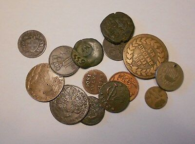 europe lot of 14 coins & tokens for identify