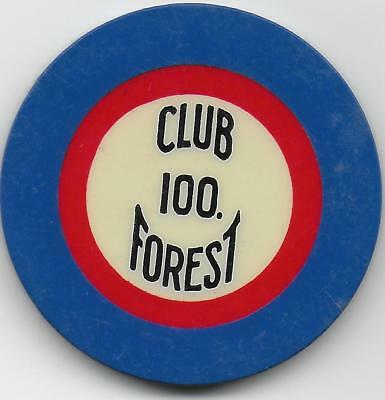Beautiful 100 Crest & Seal Casino Chip-CLUB FOREST-New Orleans, La.-LAFOR22-Cl.