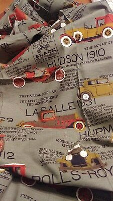 Vintage Cotton/Cotton Blend Fabric of Antique Car Motif; Age of the Highway