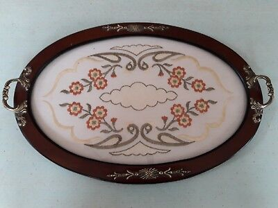 Pretty  Oval Wooden Tray With Brass Handles And Embroidered Centre